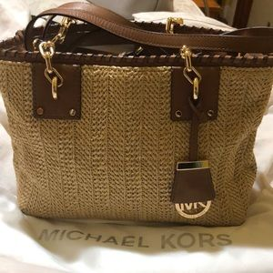 Michael Kors straw material with brown leather